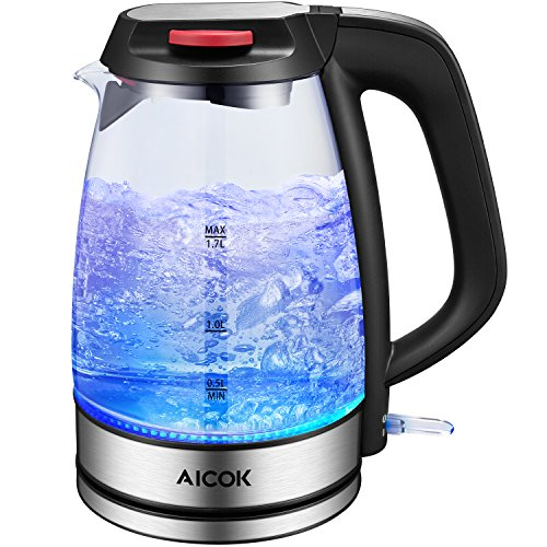 Review Of Aicok Electric Kettle SpeedBoil 1500W BPA-Free Glass Tea Kettle, Cordless Kettle with Auto...