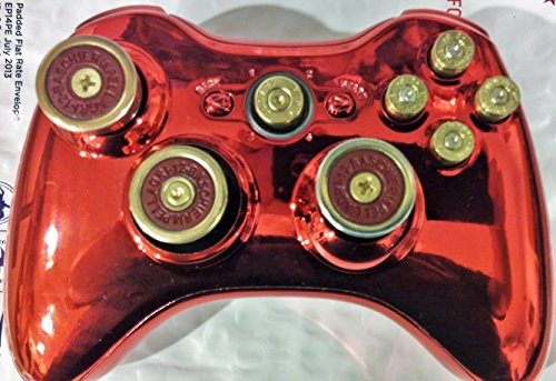 Photo - Microsoft Xbox 360 Wireless Controller+Metallic Red Hydro Dipped Shell+9mm Brass Abxy Bullet Buttons+45cal Guide Bullet Button+12g Shotgun Shells Analog Thumbstick and D Pad+Free Expedited Shipping