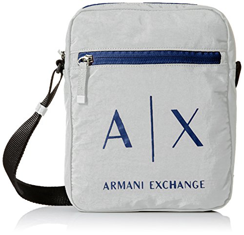 Armani Exchange Men's Light Weight Crinkle Nylon Logo Crossbody Satchel - Bag Men Armani