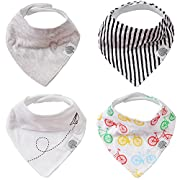 Parker Baby Bandana Drool Bibs – 4 Pack Baby Bibs for Boys, Girls, Unisex -Bikes Set