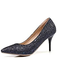 Rongzhi Womens Pumps High Heels Slip On Stilettos Pointed Toe Formal Dress Shoes Plus Size