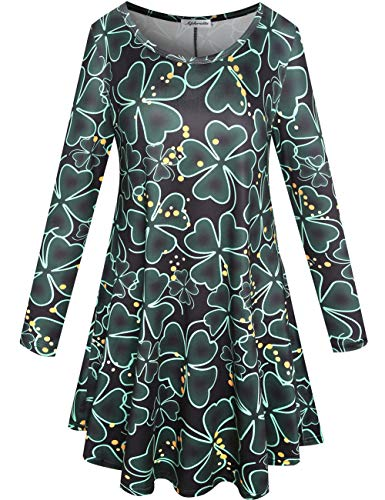 Aphratti Womens Long Sleeve St Patricks Day Cute Clover Print Casual Tunic Dress Black/Clover XX-Large -