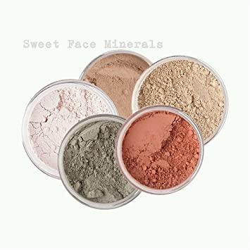 Sweet Face Minerals 5 Pc Kit Mineral Makeup Set Bare Skin Sheer Powder Concealer Corrector Blush Foundation Cover (Warm (most popular))