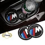 """S-Weka 2PCS M Line Car Interior Accessories Anti Slip Cup Mat for BMW 1 3 5 7 Series F30 F35 320li 316i X1 X3 X4 X5 X6 (2.9"""" Dia.(X3 /X4 /5/7 Series) (2.9""""(74mm))"""