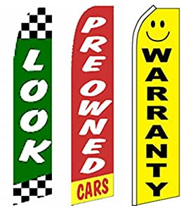 3 Car Auto Dealer Swooper Flutter Feather Flags-LOOK-Pre-owned -Warranty