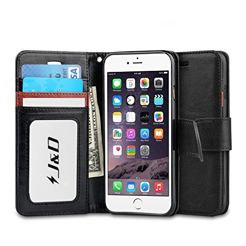 J&D Case Compatible for iPhone 6 Plus/iPhone 6S Plus Case, [Wallet Stand] [Slim Fit] Heavy Duty Shock Resistant Flip Cover Wallet Case for Apple iPhone 6s Plus, Apple iPhone 6 (Best Jd Cases For Iphone 6 Plus To Protect The Cases)
