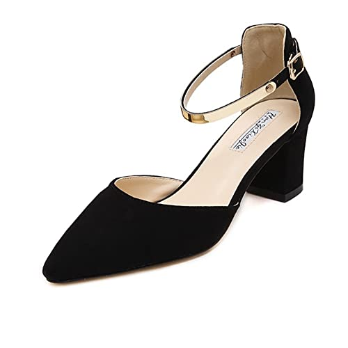 52c70d704d6 Meeshine Womens Ladies Low Mid Block Heel Sandals Ankle Strap Pointed Toe  Court Shoes New Black 5.5 UK  Amazon.co.uk  Shoes   Bags