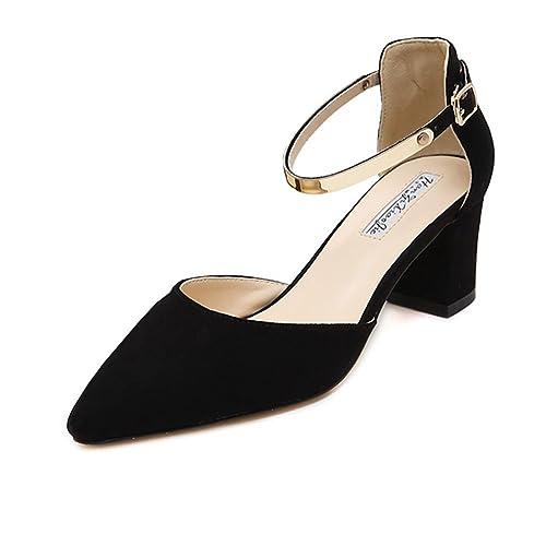 2f47de100d6 Meeshine Womens Ladies Low Mid Block Heel Sandals Ankle Strap Pointed Toe  Court Shoes New Black 5.5 UK  Amazon.co.uk  Shoes   Bags