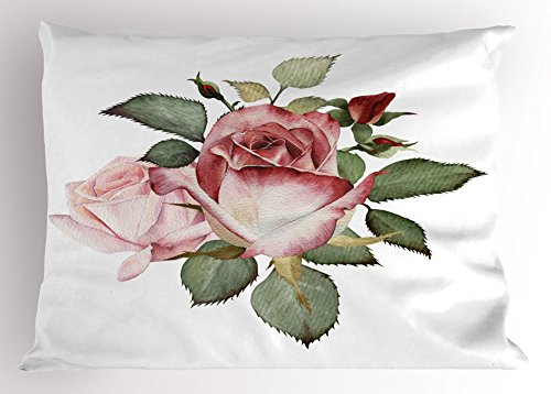 (Lunarable Flower Pillow Sham, Shabby Chic Romantic Design with Big Roses and Leaves Buds Hand Colored Image, Decorative Standard Size Printed Pillowcase, 26 X 20 Inches, Pink and Red)