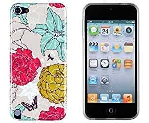 Vintage Floral Flexible TPU Case with Clear Sides for Apple iPod Touch 5 (5th generation) + Sunshine Case Keychain Screen Cleaner [Retail Packaging by Sunshine Case] by heywan