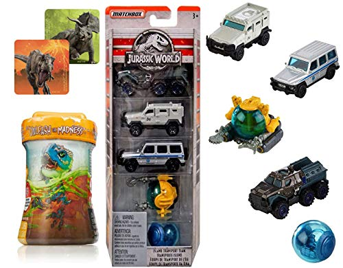 Legacy World Dino Rivals Park Jurassic Collection Matchbox 5-Pack Island Explorers Bundled with Off-Road Transport Team Trucks / Gyrosphere / Jeeps / Explorer + Dinosaur Mini Figure & Sticker 3 Items