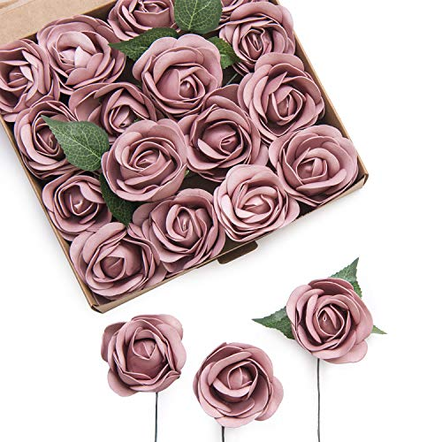 Ling's moment Real Touch Artificial Rose Flower 16pcs Dusty Rose Peonies Real Looking Fake Peony w/Stem DIY Wedding Bouquet Centerpieces Reception Arrangements Party Baby Shower Home Décor]()
