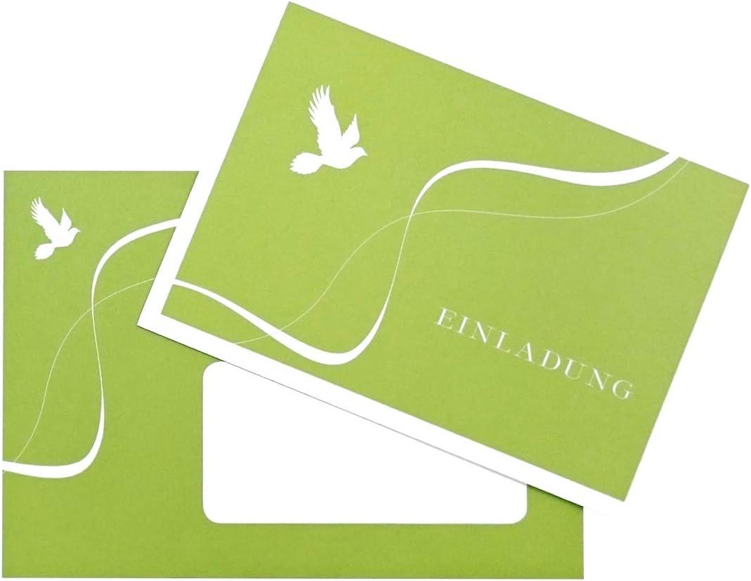 Cartes D Invitation Colombe Vertes Pour Communion