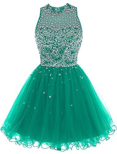 Fanciest Perles De Luxe Féminin 2016 Robes Courtes Retour À La Maison Pour Les Juniors Robes De Bal Vert