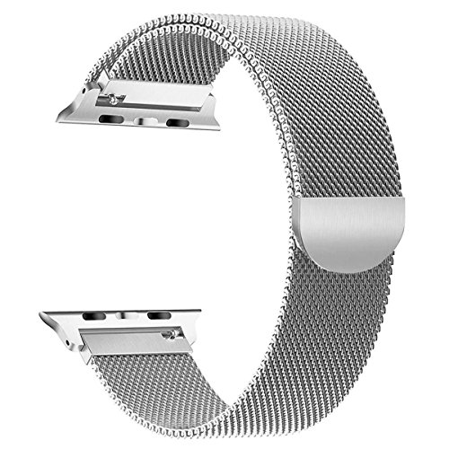 OULEDI Compatible Stainless Steel Band for Apple Watch Replacement Mesh Strap Bracelet for iWatch Series 1 Series 2 Series 3 Series 4 with Magnetic Closure Clasp 38mm 40mm Silver