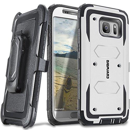 COVRWARE Galaxy S7 Edge - [Aegis Series] Heavy Duty Dual Layer Hybrid Full-Body Armor Holster Belt-Clip Case [Kickstand] for Samsung Galaxy S7 Edge - White