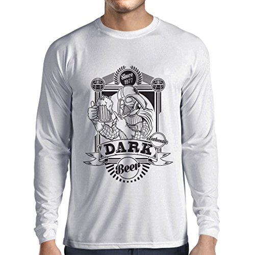 lepni.me N4835L Long Sleeve t Shirt Men The Dark Side Of The Beer (Large White Multi Color)