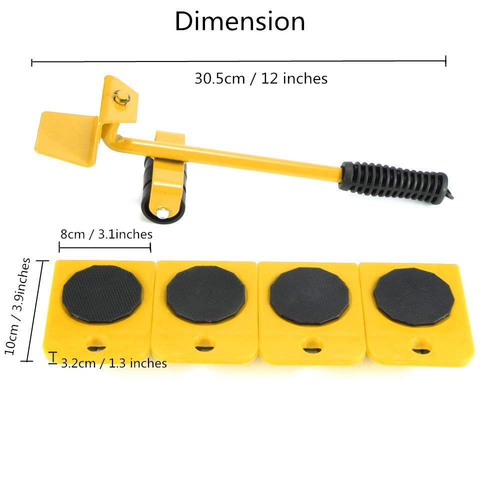 Wefond 1 Set Furniture Lifter Durable Heavy Appliance Furniture Lifting and Moving Tool Set for Heavy Furniture & Appliance Lifting, 1 Lifting Rod and 4 Furniture Moving Rollers (Yellow) by Wefond (Image #2)