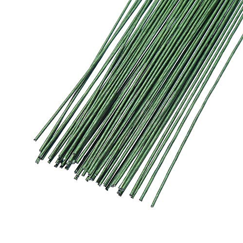 Onwon 60 Pieces 18 Gauge Floral Stem Wire 14 Inch Crafting Floral Paper Wrapped Wire, Dark ()