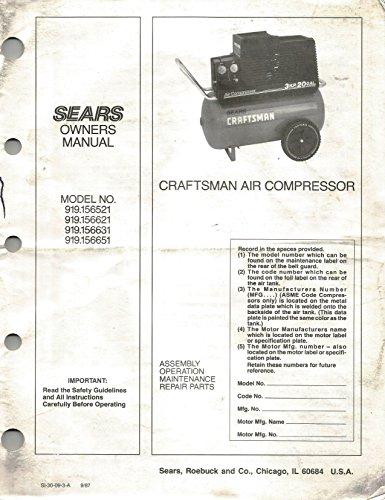 Sears Owners Manual Craftsman Air Compressor Model No 919.156521, 919.156621, 919.156631, 919.156651