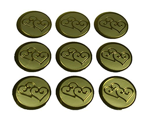 100 Gold Double Hearts Print Wedding Round Envelope Seal Stickers 1 inch Diameter -