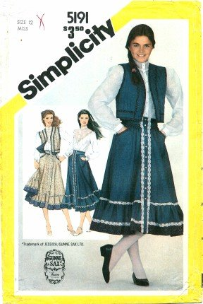 Simplicity Pattern 5191 Gunne Sax Misses' Blouse, Skirt and Quilted Vest, Size 12 (Bust 34) -