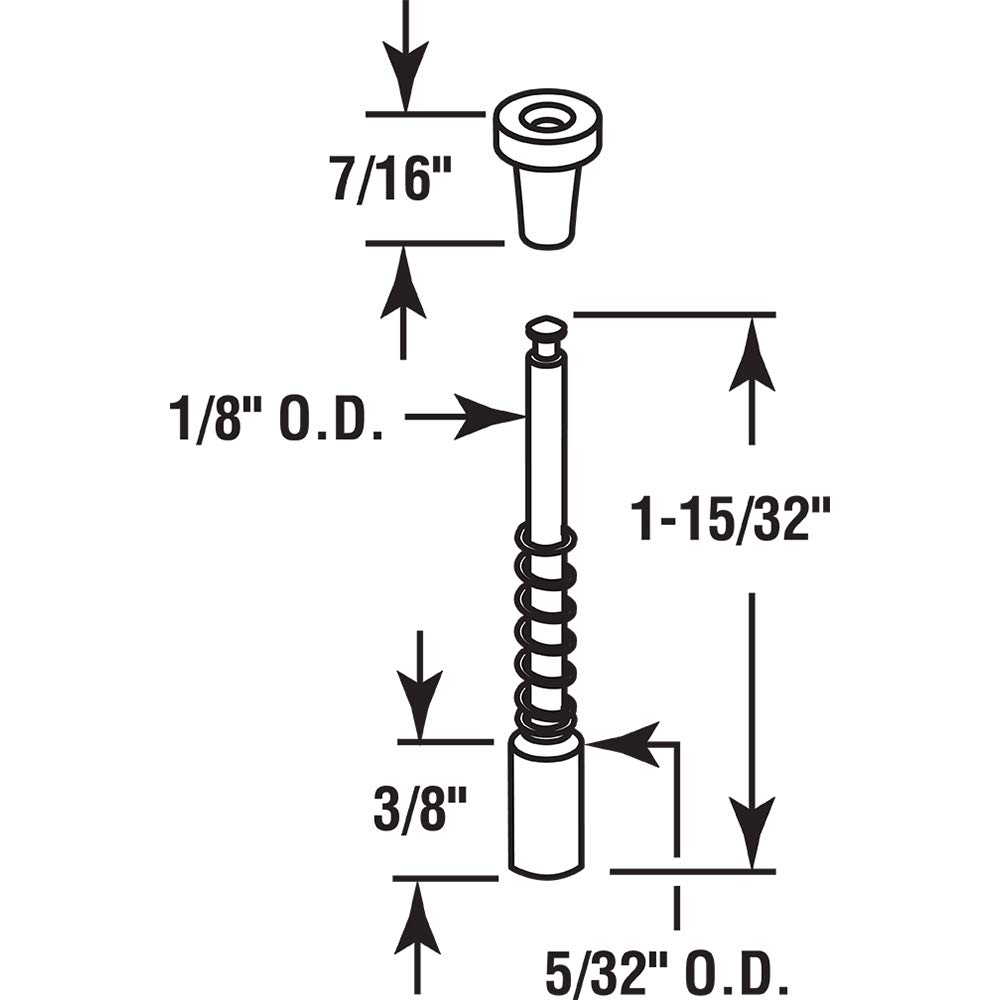 5//32 X 1-1//2 Slide-Co 184705 Window Screen Plunger Latches 5//32 X 1-1//2 Pack of 4 Aluminum,