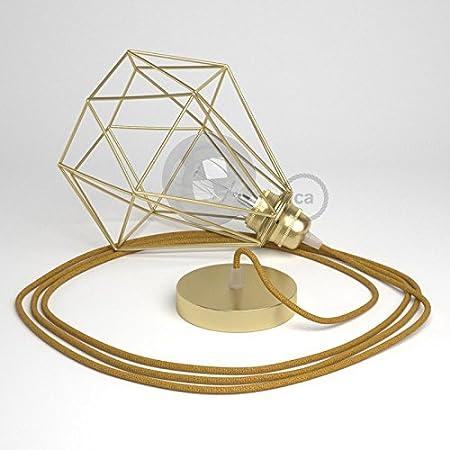 Lámpara colgante con jaula Diamond acabado latón y cable RL05 ...