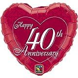 Happy 40th Anniversary Heart Foil Balloon