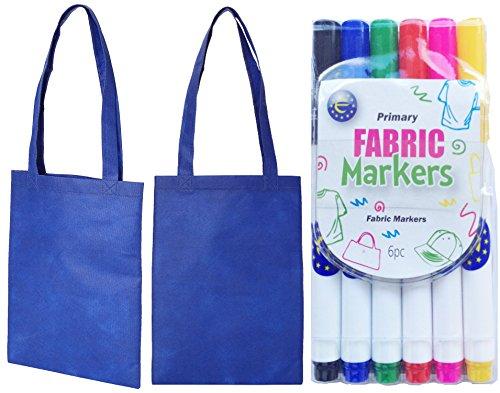 Mini pour sac Idéal fête 5 stylo main en Shopper Bleu sacs tissu marine Lot Bleu couleurs de Motif de à 5 Eqgntvw