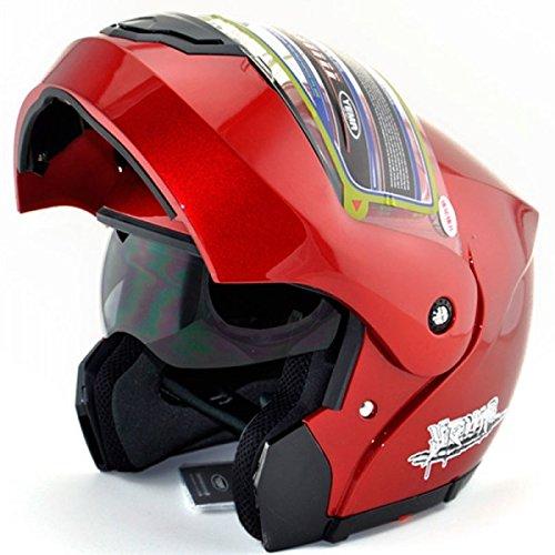 Red Motorrad Full Face Klapphelm Doppelschild Sonnenblende Anti-Fog-Free Size