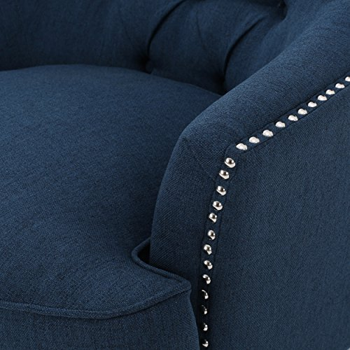 Grands Tufted Fabric Club Chair, Contemporary Lounge Accent Chair, Dark Blue - 4