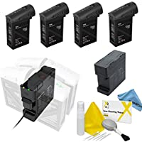 DJI Inspire 1 Black Edition Battery Bundle. Includes 4x TB48 Batteries (Black) + Battery Charging Hub (Charge all batteries at the same time!) + eDigitalUSA Cleaning Kit