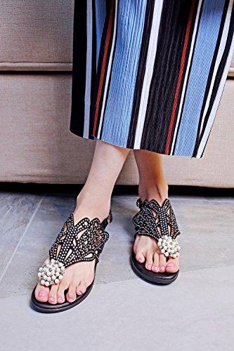 Sandals Womens Carolbar Fashion Rhinestones Buckle Black Flip Causal Flop Beaded Thong zWd4dnrqxF