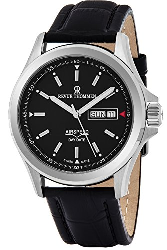 Revue Thommen Air Speed Pilot 42 MM Mens Black Dial Black Leather Automatic Day Date Swiss Watch 16020.2534