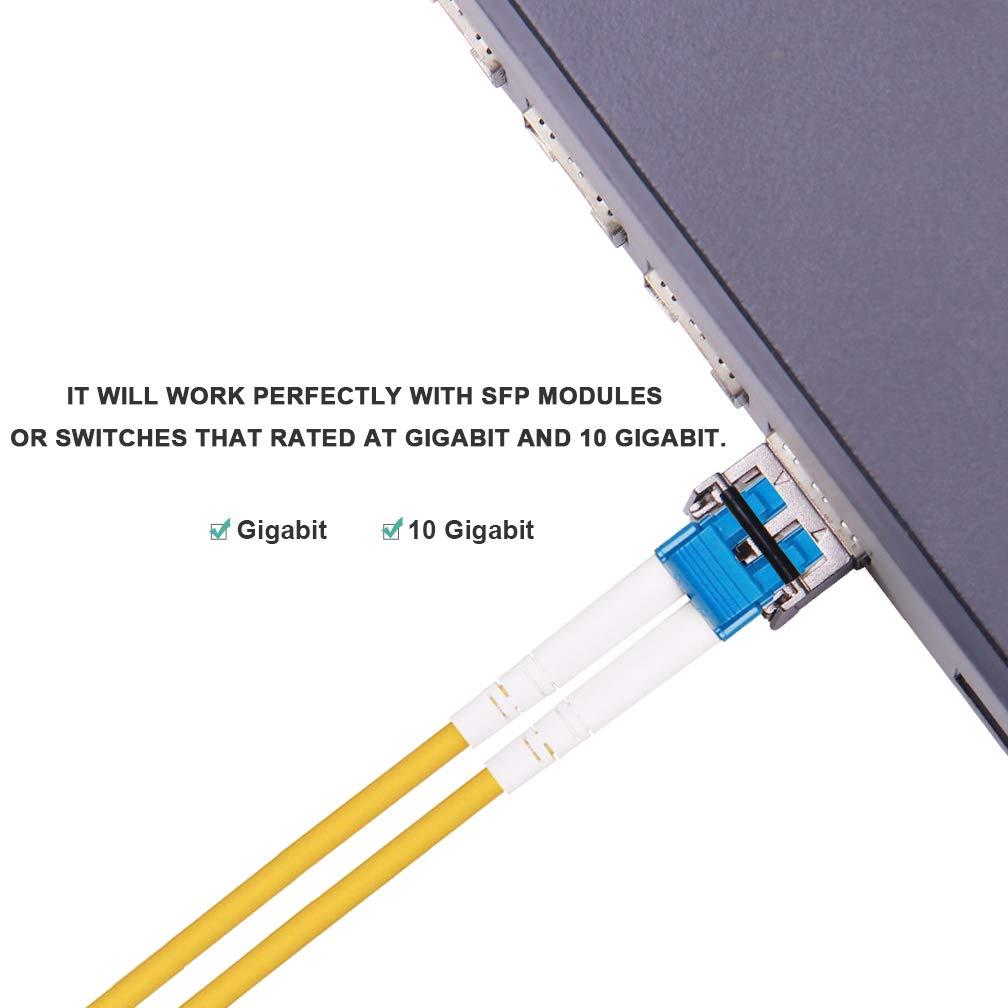 LSZH 5-Pack LC /à SC C/âbles en Fibre Optique 2-M/ètre OS1//OS2 C/âble /à Fibre 0ptique Monomode Duplex 9//125 pour Transceiver SFP 10Gb//Gigabit