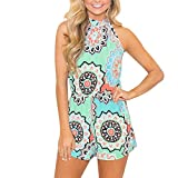 Quealent Women Rompers Floral Sleeveless Casual Tops Shorts Two Piece Outfits Jumpsuits Playsuits Green