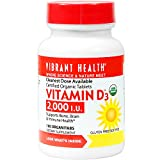Vibrant Health – Vitamin D3 2000 I.U., Supports Immunity, Brain, and Bone Health, Certified Organic Tablets, 100 Count (FFP)	 For Sale