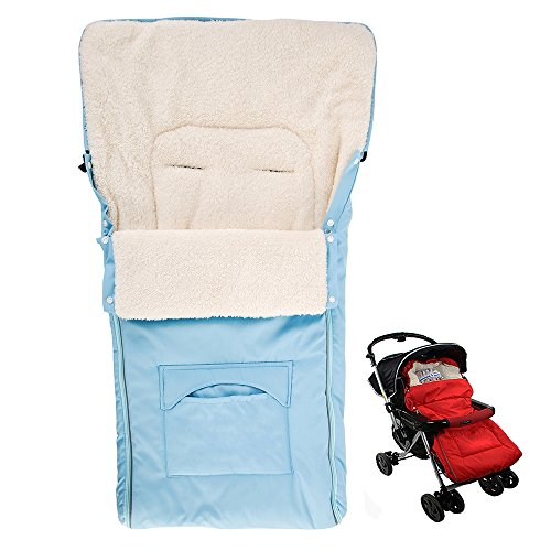 Seacan Universal Wool Baby Warm Stroller Footmuff Sleeping Bag Sack Bunting Bag Carrier Bundle Bag For Infant Toddler In Winter Outdoor Tour,Car Seat (Light blue) by Seacan