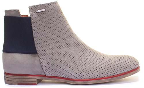 Justin Reece Women Perforated Flat Leather Chelsea Boot (7 UK, Grey)