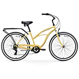 "sixthreezero Around The Block Women's 7-Speed Beach Cruiser Bicycle, 26"" Wheels, Cream with Black Seat and Grips"