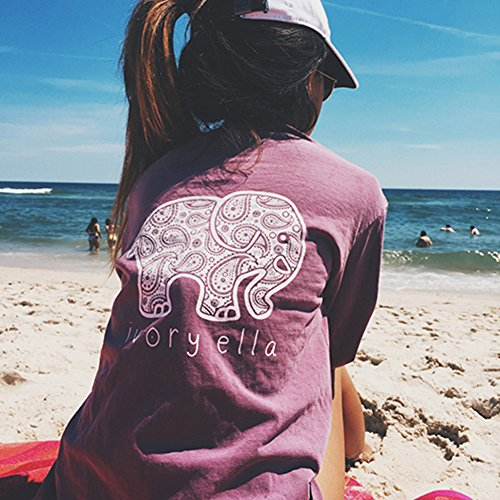 ClothingLoves New Ivory Ella Women T-shirt Long Sleeve Elephant Printed O-Neck 5 Colors Cotton Women Tops...