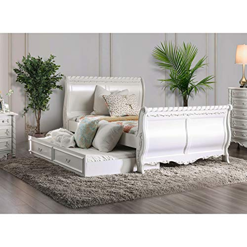 Furniture of America Mystical Reign Pearl White Sleigh Bed Full