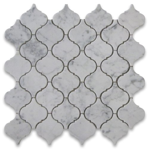 Carrara White Italian Carrera Marble Medium Lantern Shaped Arabesque Baroque Mosaic Tile (Polished Floor Tiles)