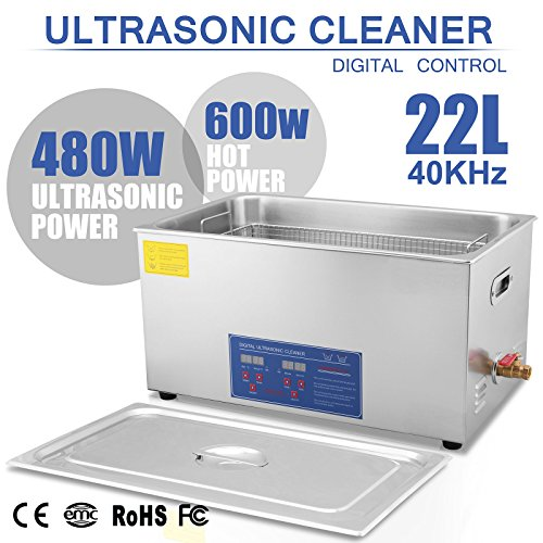 Happybuy Ultrasonic Cleaner 22L Large Commercial Ultrasonic Cleaner Stainless Steel Ultrasonic Cleaner With Heater And Digital Control Ultrasonic Cleaner Solution Heated With Jewelry (22L)