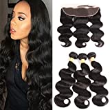 VTAOZI Brazilian Virgin Hair Body Wave 3 Bundles with Closure Natural Color 100% Unprocessed Human Hair Extensions with 13x4 Frontal Lace Closure (10 12 12 with 10)