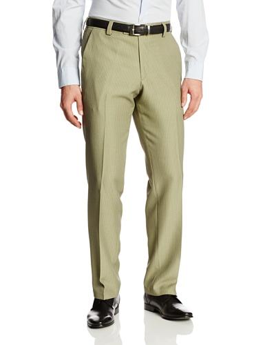 Kenneth Cole Reaction Khaki (Kenneth Cole Reaction Men's Heather Vertical Modern Fit Flat Front Dress Pant, Khaki, 42x32)