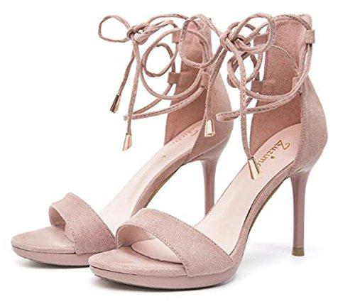 club sexy fashion sandal 7cm thin cross newest lady high sandal pink night 2018 sandals women office tied 5 women heel vaq4waY5f