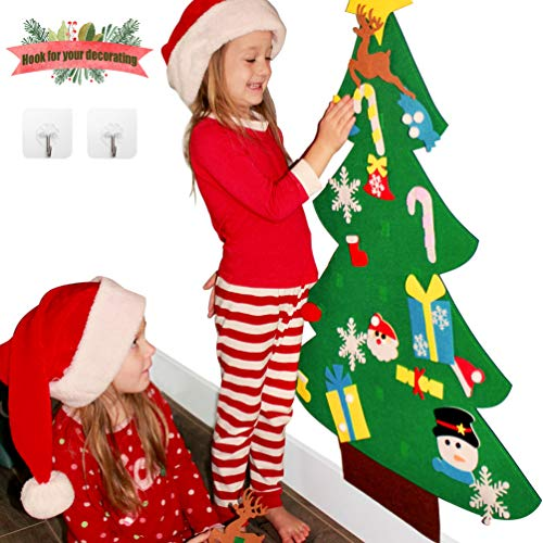 Sunboom 3ft DIY Felt Christmas Tree for Toddlers +26pcs DIY Christmas Ornaments for Kids, Wall Door Hanging Christmas Decorations Xmas Trees Decor for Kids Room, Girl Boy Toys Ideas +Free Hook (Tree Ornament Ideas Christmas)