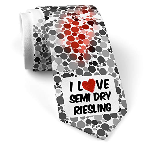 Semi Riesling Wine Dry - Neck Tie with I Love Semi Dry Riesling Wine White with Color Print